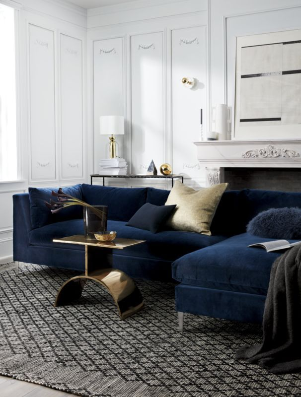 Decker 2 Piece Blue Velvet Sectional Sofa In 2019 Products