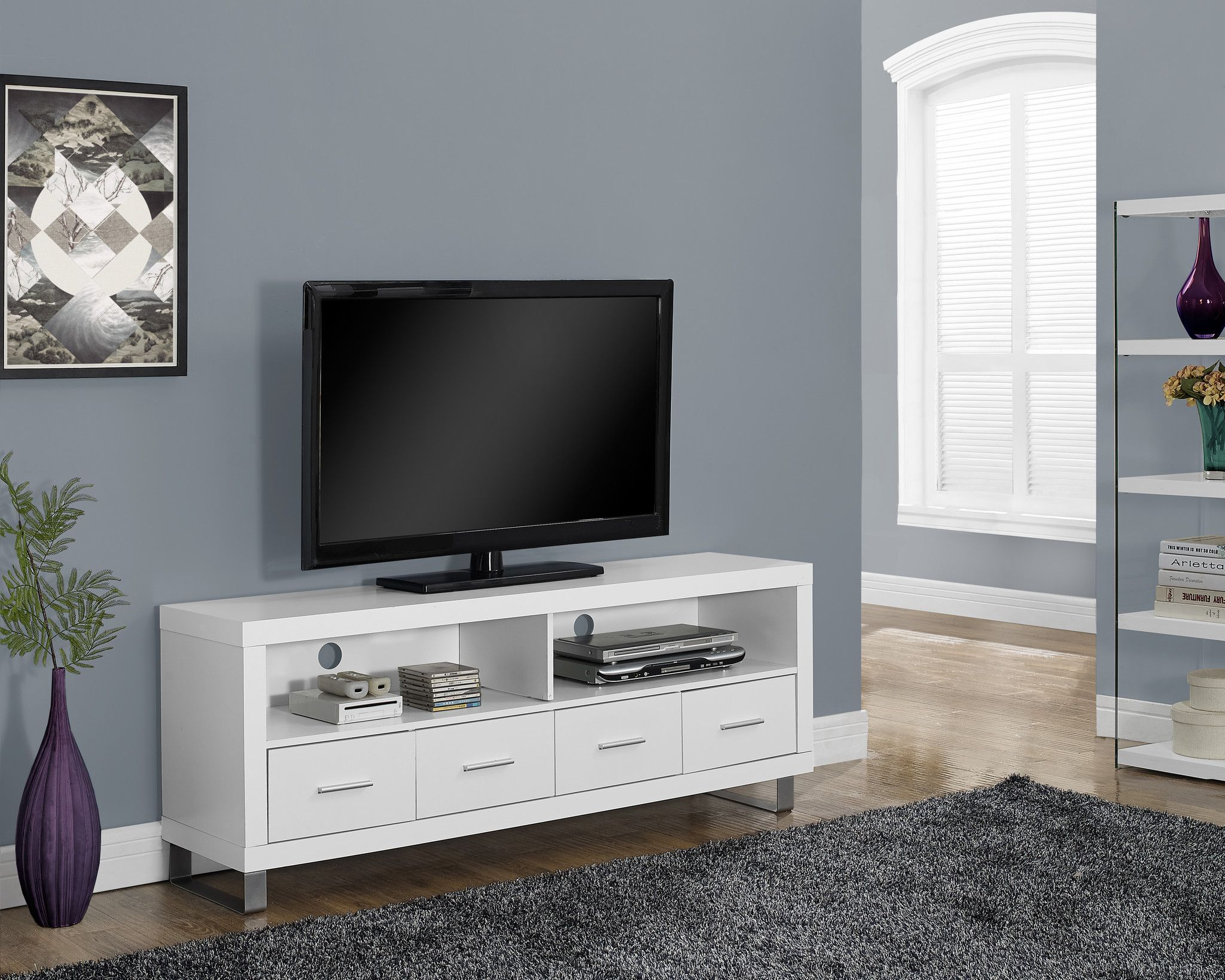 "Tv Stand 60""L / White With 4 Drawers Tv console, White"