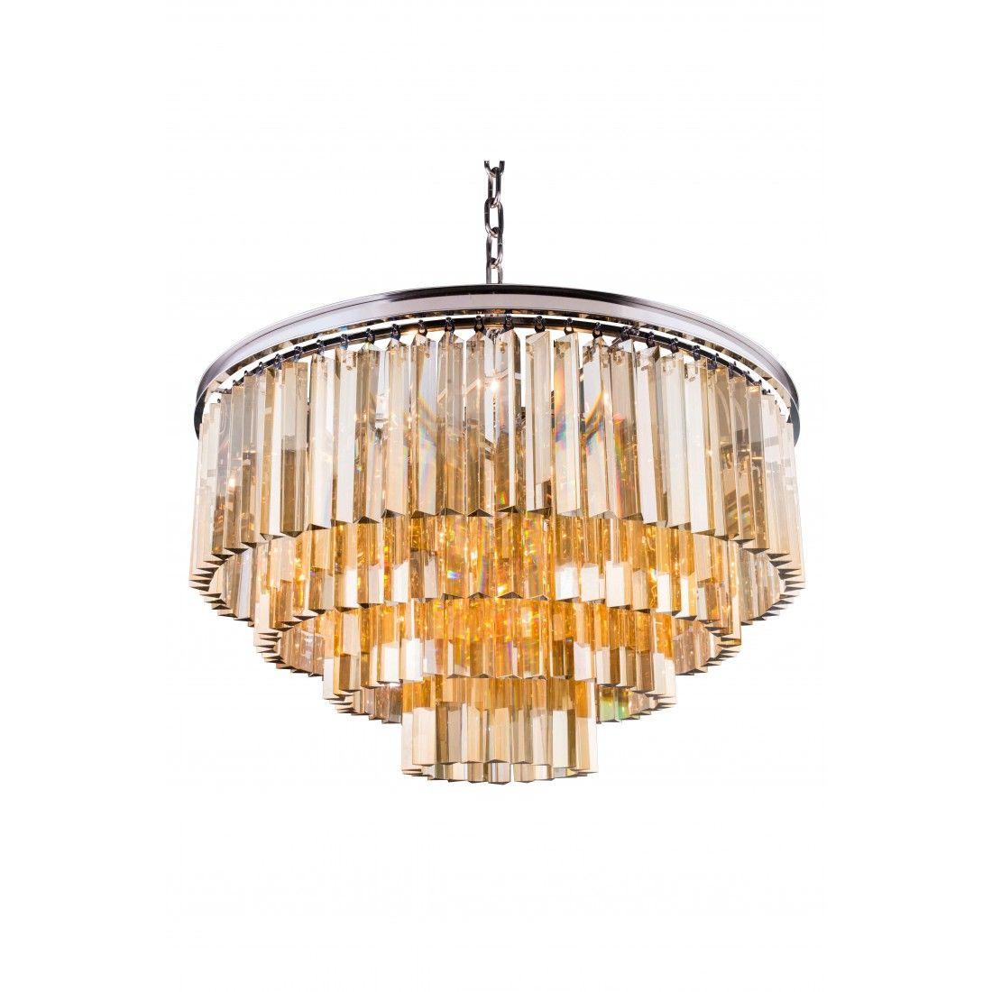 1201 Sydney Collection Pendent Lamp Polished Nickel Finish- Golden Teak