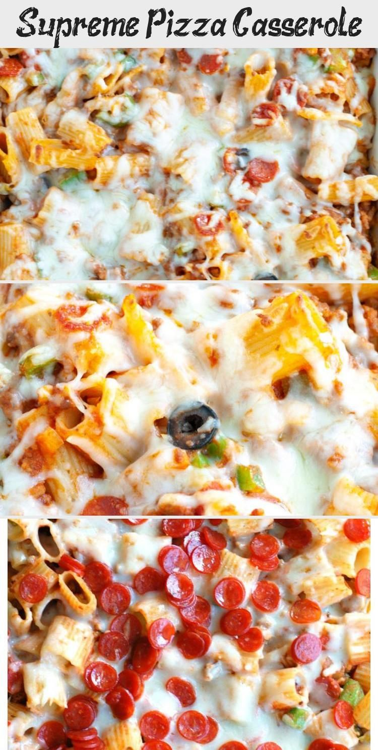 Easy dinner that the whole family will love All the ingredients on a supreme pizza loaded in a pasta casserole