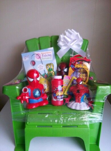 39 diy gift basket ideas gift easter and basket ideas boys gift basket love the idea of using the chair as the basket negle Gallery