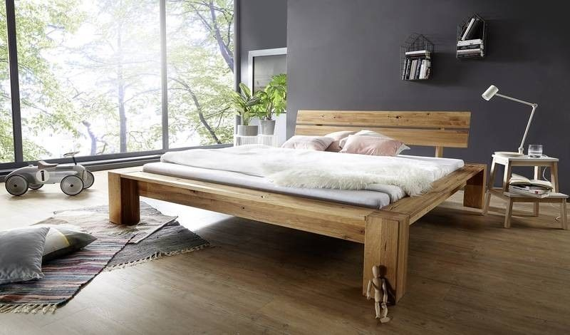 Bett Wildeiche mit Risse 180x200 natur geölt LEON Jetzt bestellen - Schlafzimmer Landhausstil Weiß