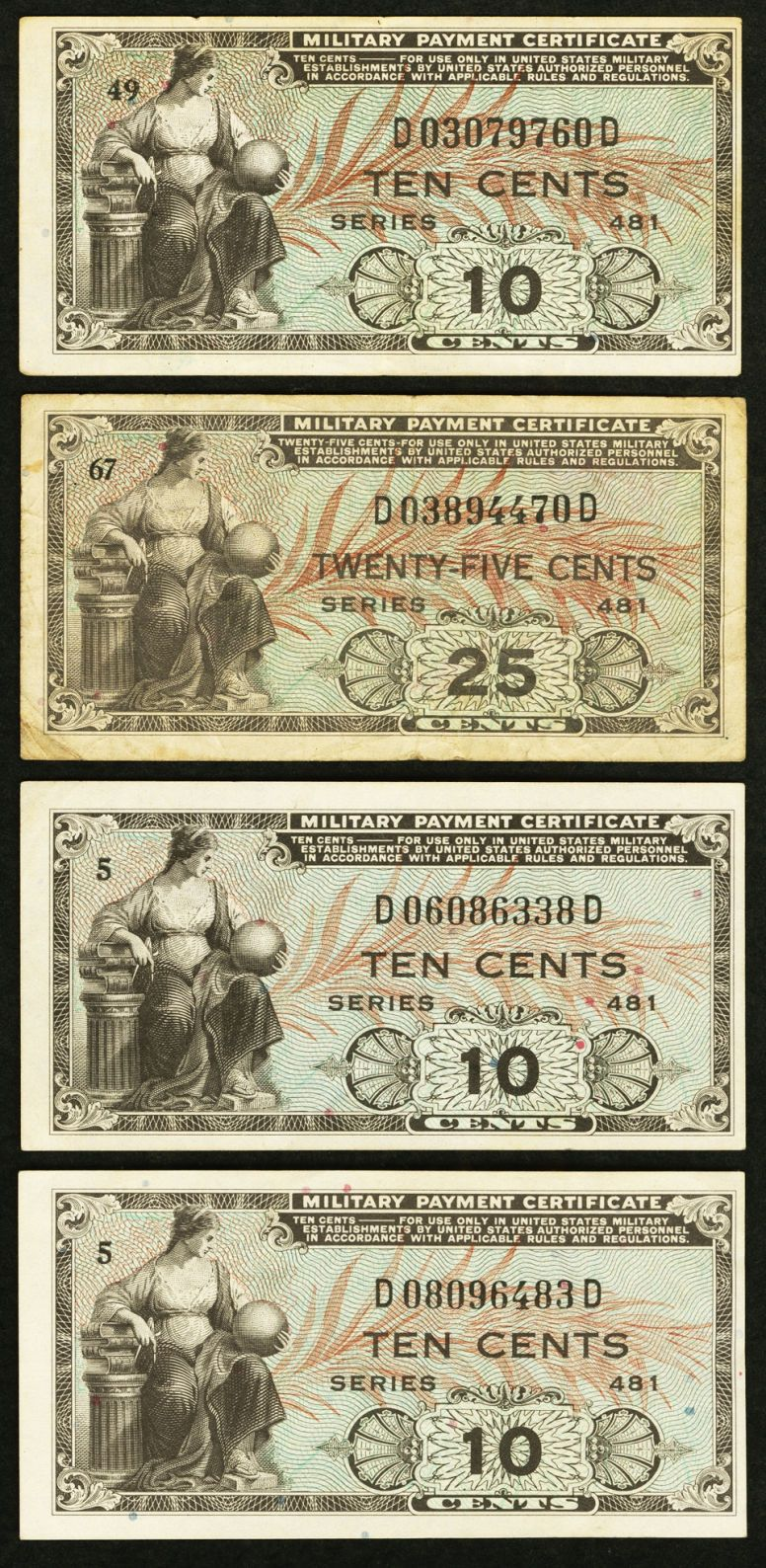 Series 481 Two Different Denominations 10 First Printing Vf Light