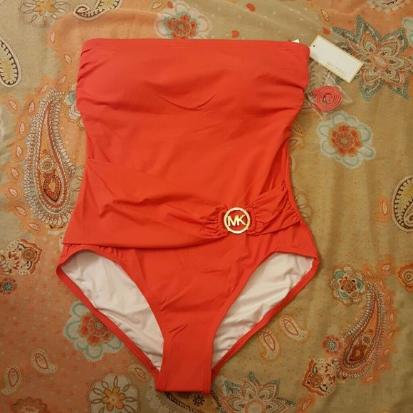 c78d7ae52a FLASH SALE HPMichael Kors One Piece Swim MICHAEL Michael Kors one piece  halter bathing suit with band in front with gold medallion attached.