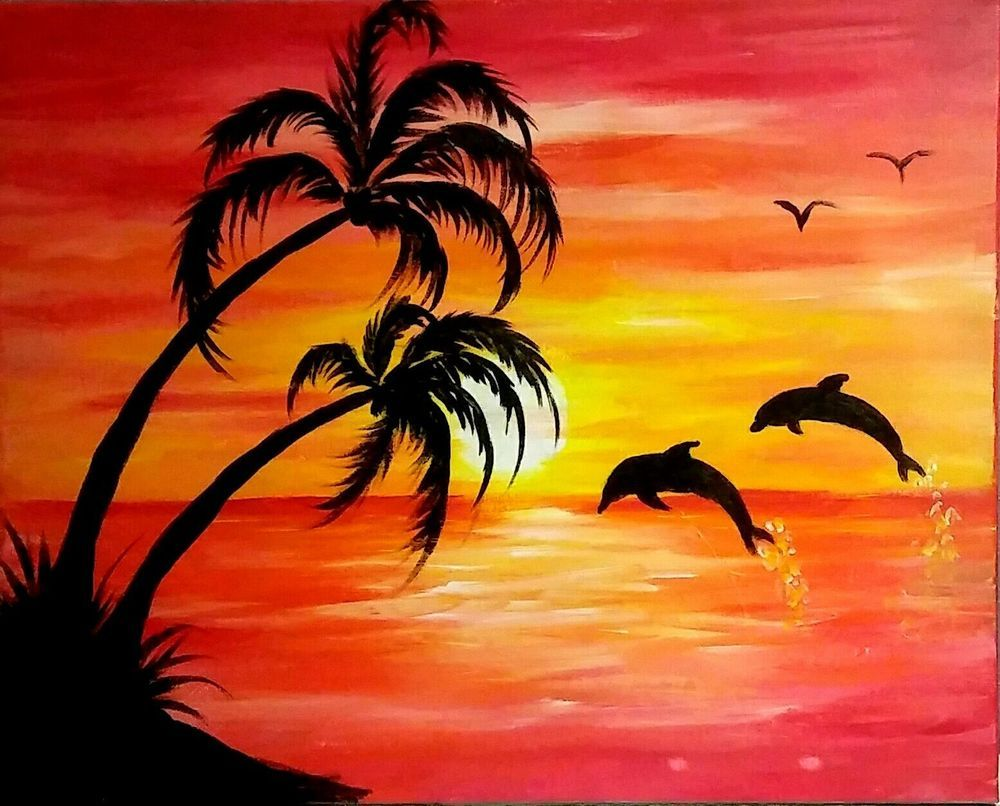 Yvette Andino Art Original Beach Sunset And Dolphins 20x16
