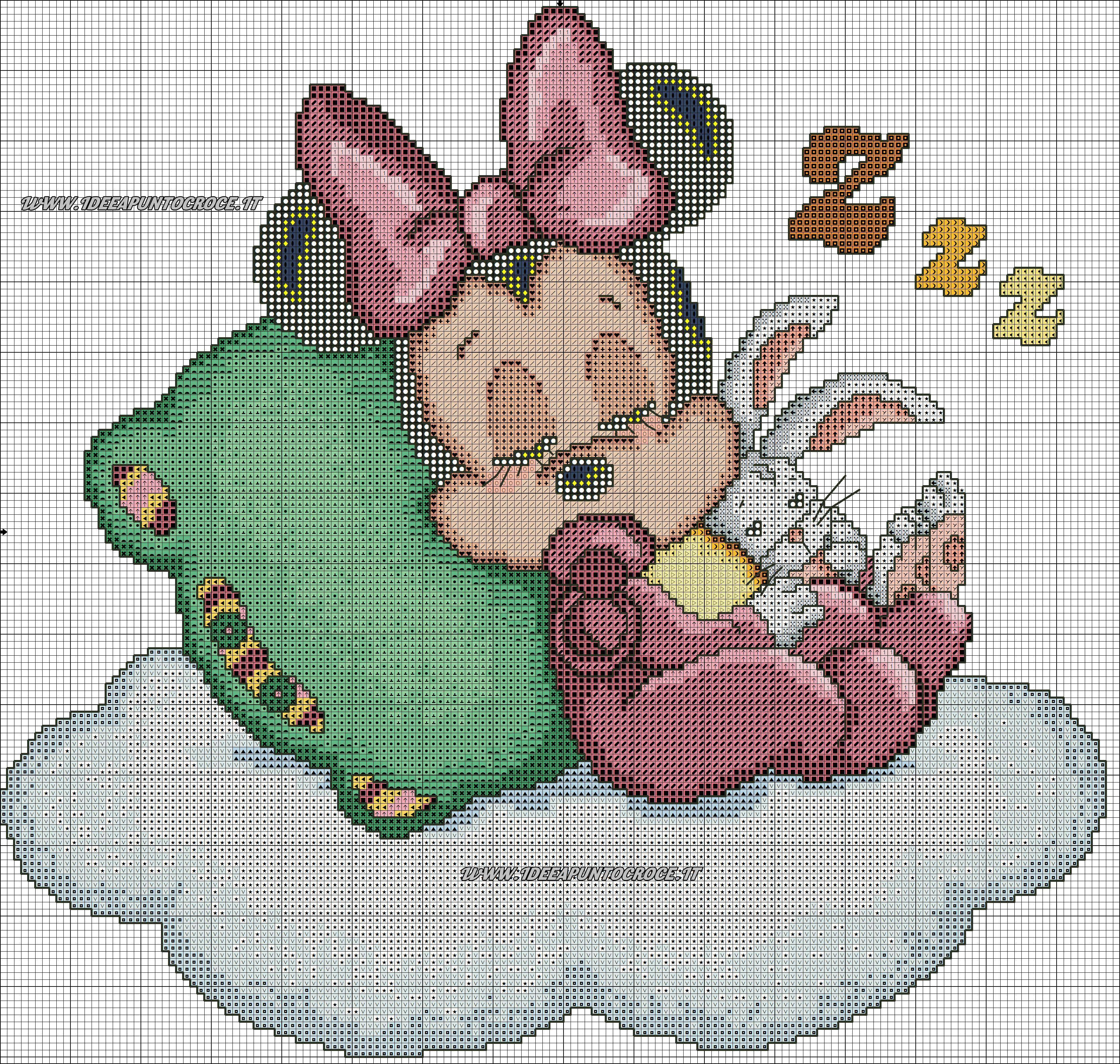 Baby Minnie Schema Punto Croce Stickvorlagen