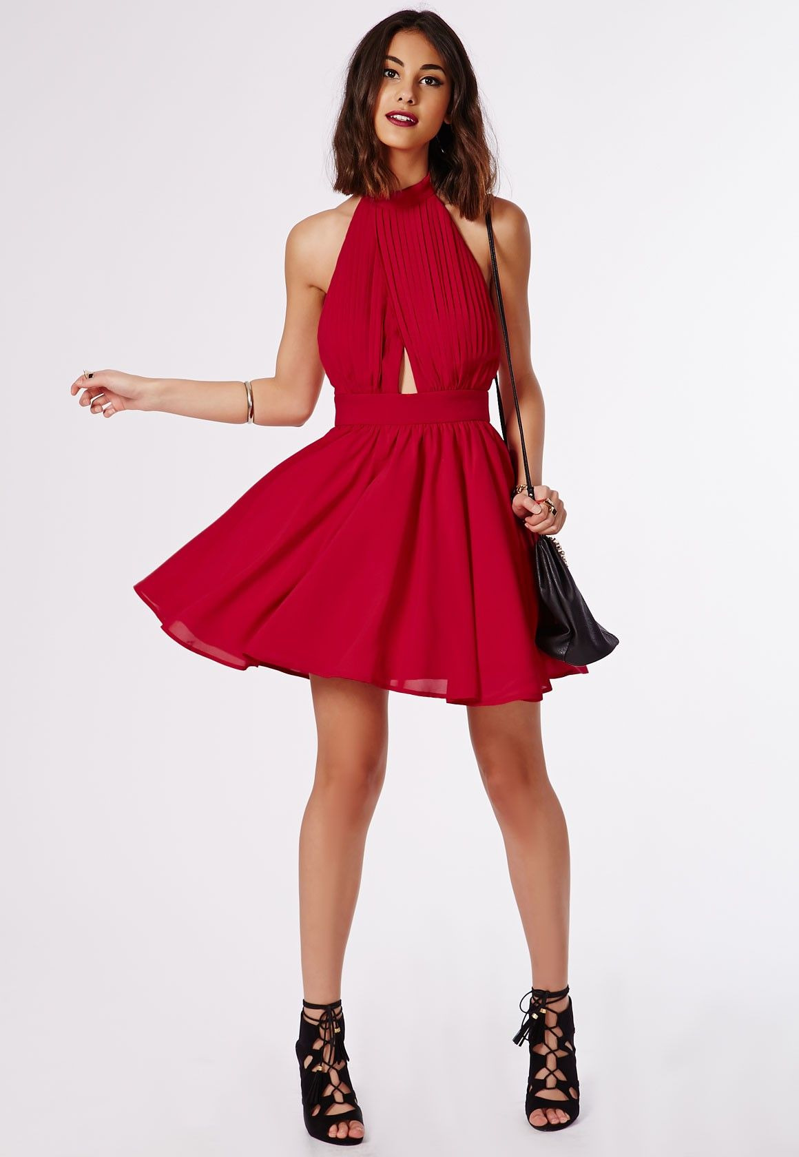 bb0aee3f44 Robe patineuse bouffante Cia rouge - Robes - Missguided Red Backless Dress