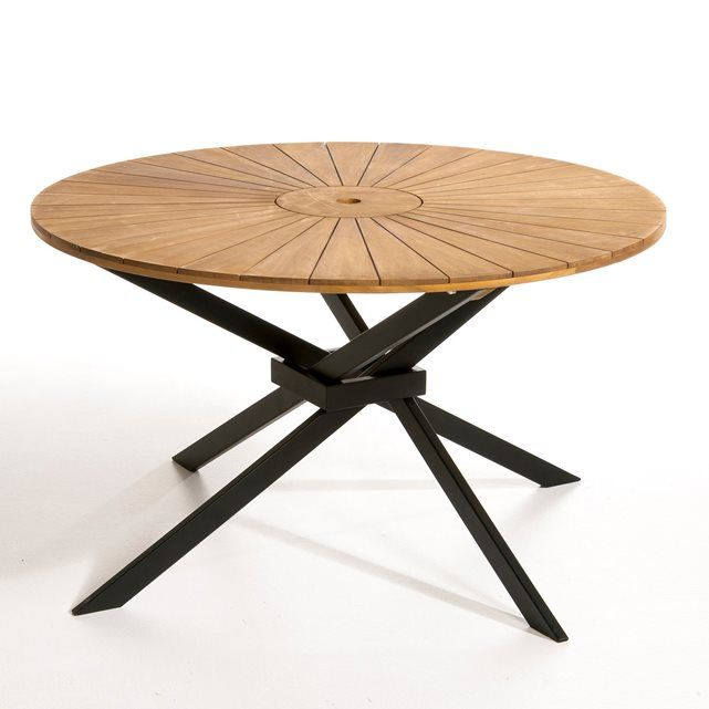 table de jardin ronde jakta table ronde noir mat et la. Black Bedroom Furniture Sets. Home Design Ideas