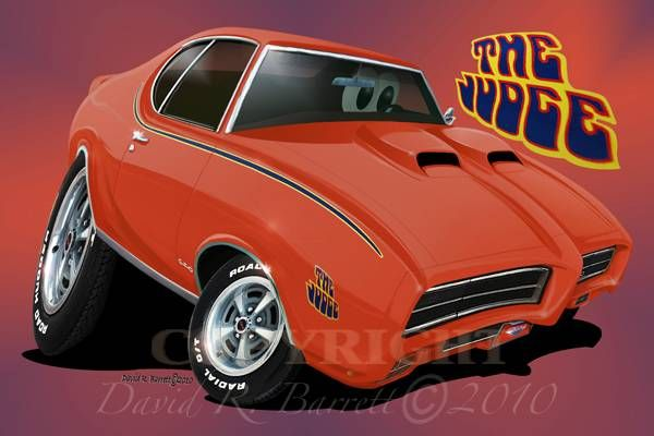 1969 pontiac gto judge automotive cartoon muscle car art print
