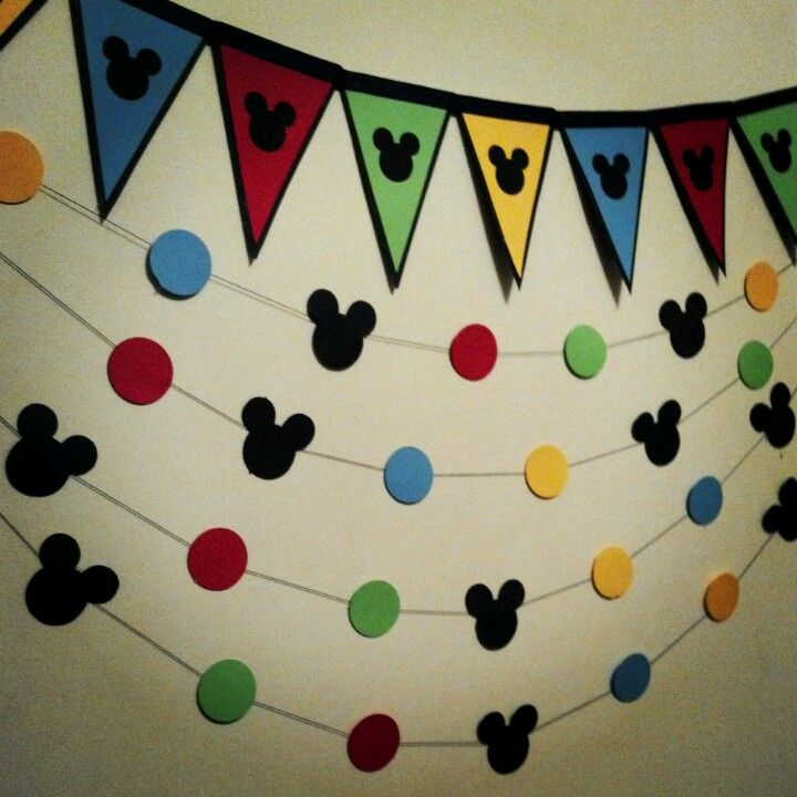 Banner & garland for a mickey mouse party pack l