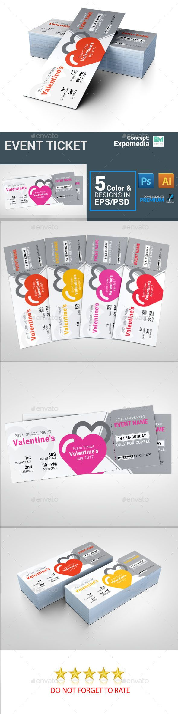Valentines Event Ticket Vector EPS Tickets Template Indesign O Download