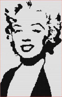 0 point de croix marilyn monroe silhouette - cross stitch