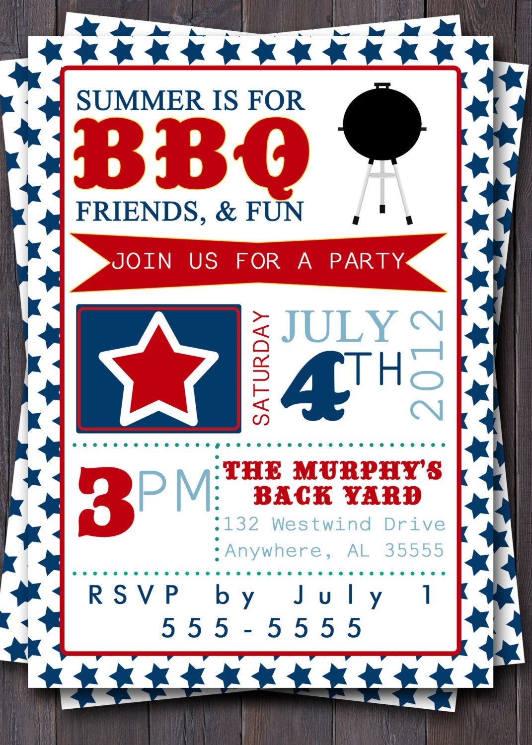 4th of July Typography Invitation. Stars, Red, White, & Blue. BBQ ...