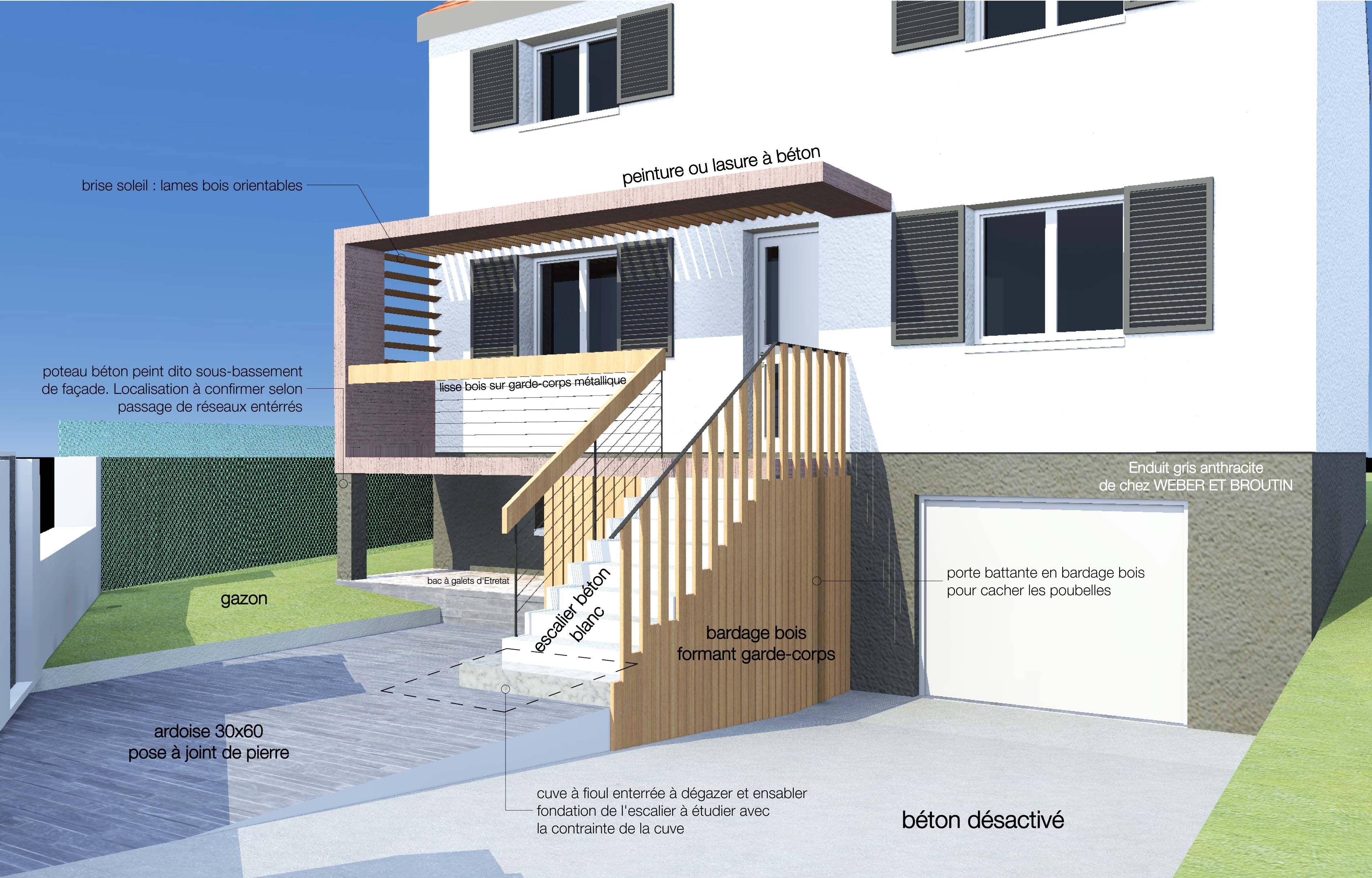 Aménagement extérieur de l\'accès à la maison. Création d\'un balcon ...