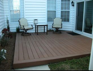 ground level composite deck (wooden patio) | Backyard ...