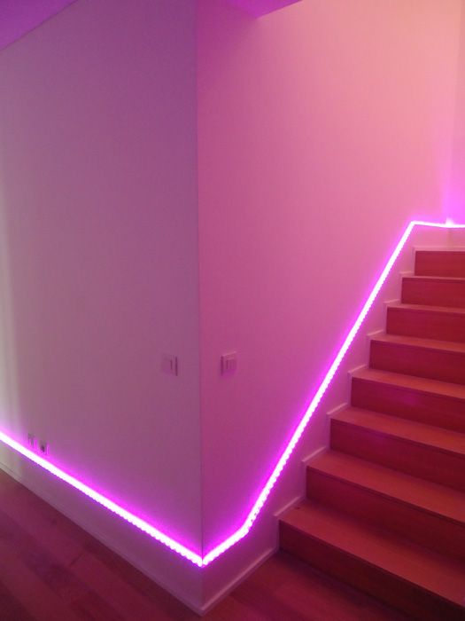 Pink neon light to brighten the hallways and staircases ...