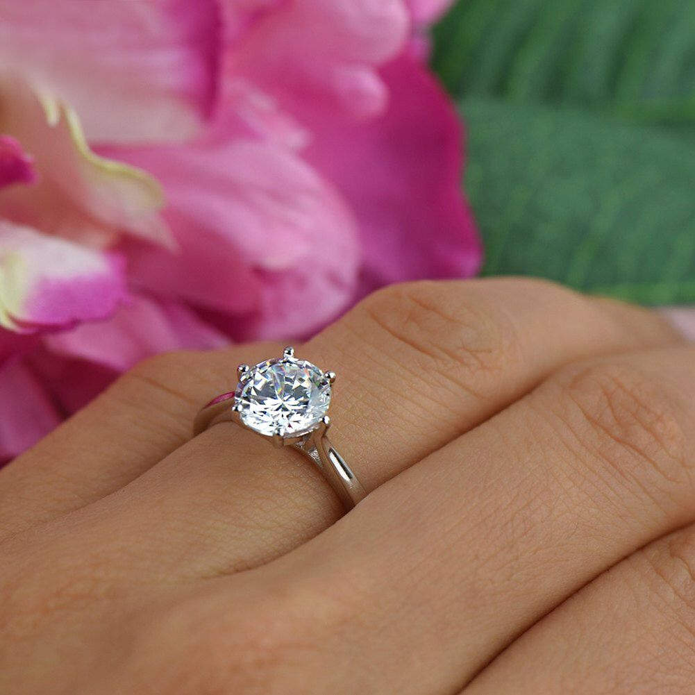 2 ct Classic Solitaire Engagement Ring, Low Profile Ring, Man Made ...