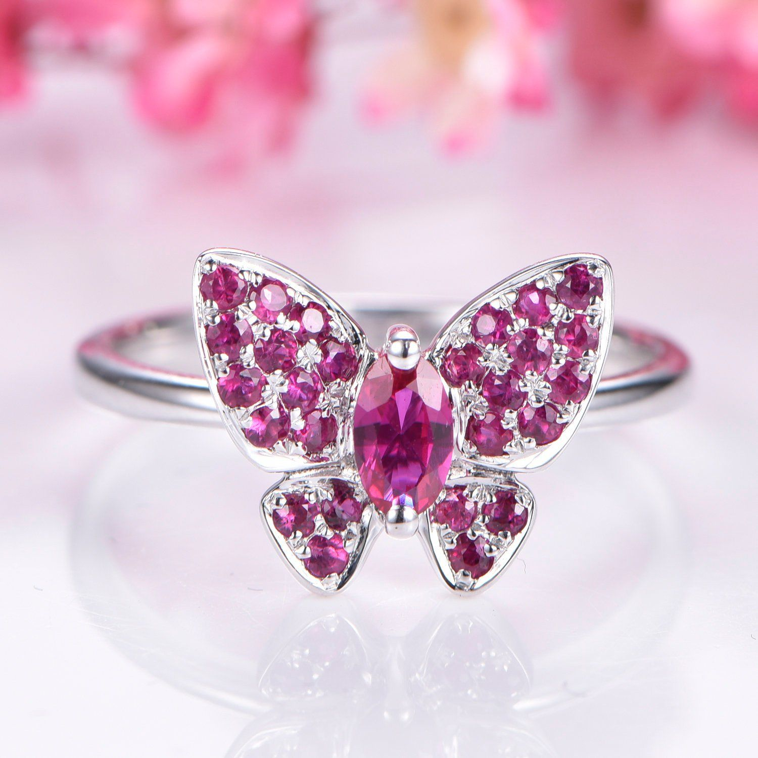 Butterfly ring natural ruby birthstone ring 0.35ct oval