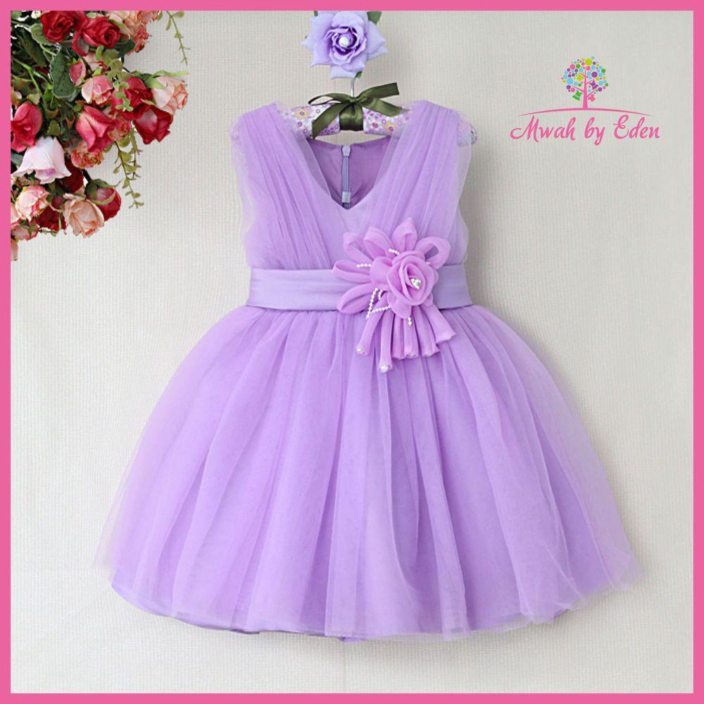 Girls Lilac Purple Christmas Dress Flower Party Bridesmaid Age 3 4 ...