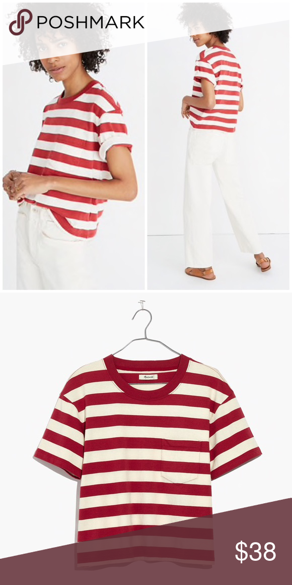 """d3b14724830 nwt    madewell easy crop tee in murph stripe Size L - sold out online.  Color Crimson   red and cream. Approx 38""""-39.5"""" bust and 22.5"""" length."""