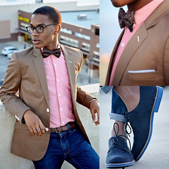 H M Navy Blue Suede Brogues H M Beige Blazer Topman Pink Shirt Levi S Skinny Jeans H M Coffee B Blue Shirt Outfits Pink Shirt Outfit Blue Shirt With Jeans