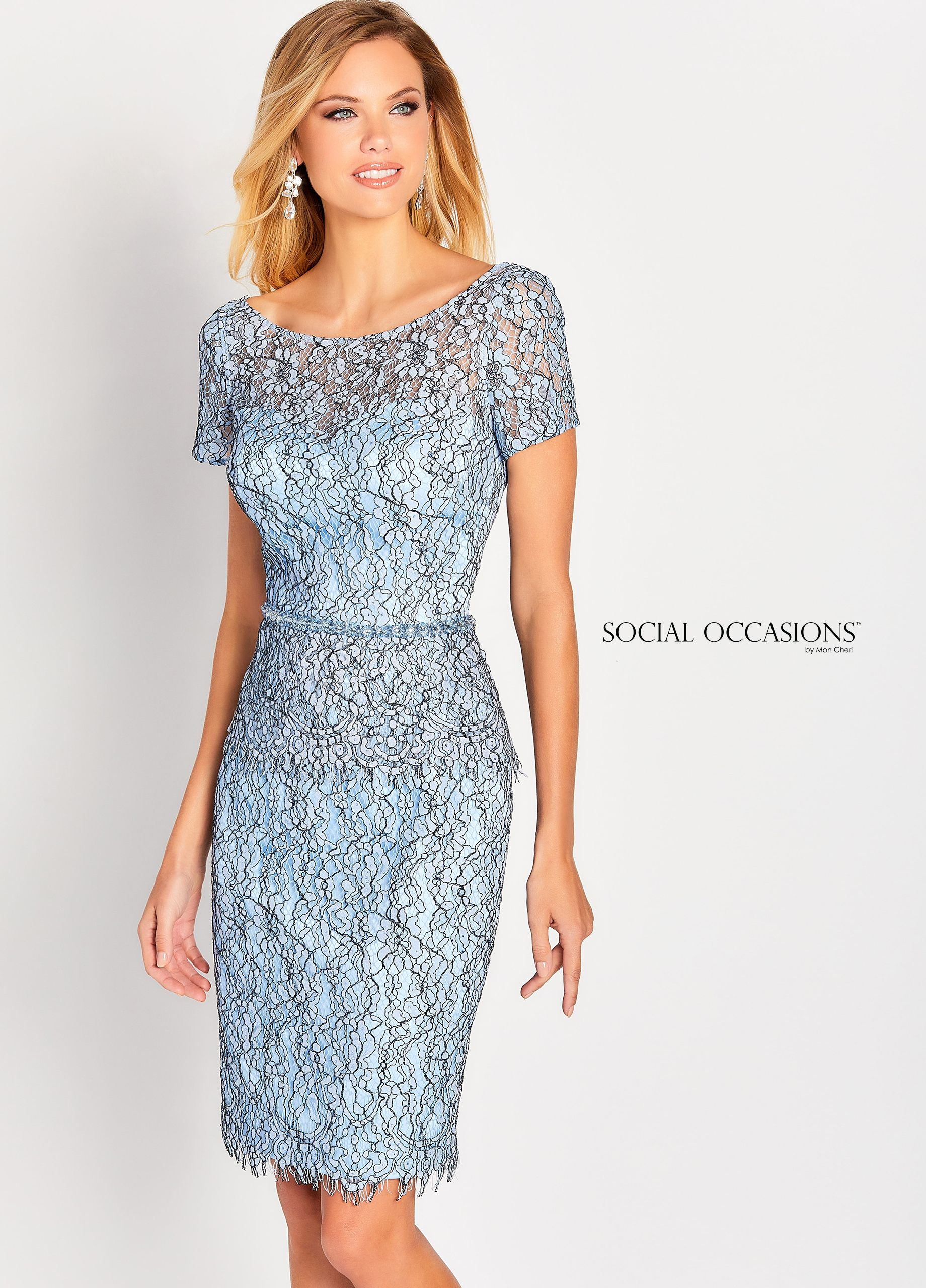 fad7649ab198 Social Occasions By Mon Cheri 119827 - Make an entrance in this sleeveless  allover lace knee