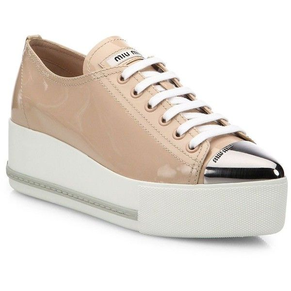 hot sale online ac283 9c2f0 Miu Miu Patent Leather Platform Cap-Toe Sneakers (2.055 BRL ...