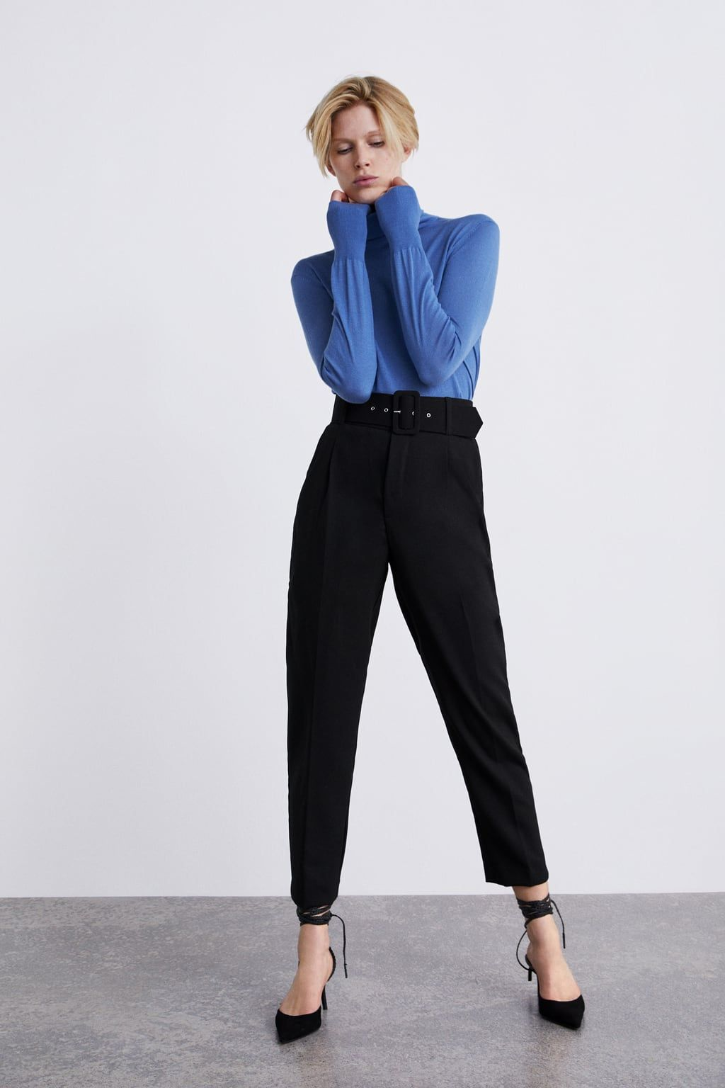 3327268c High rise trousers with belt   LOOKBOOK   Zara trousers, Zara outfit ...