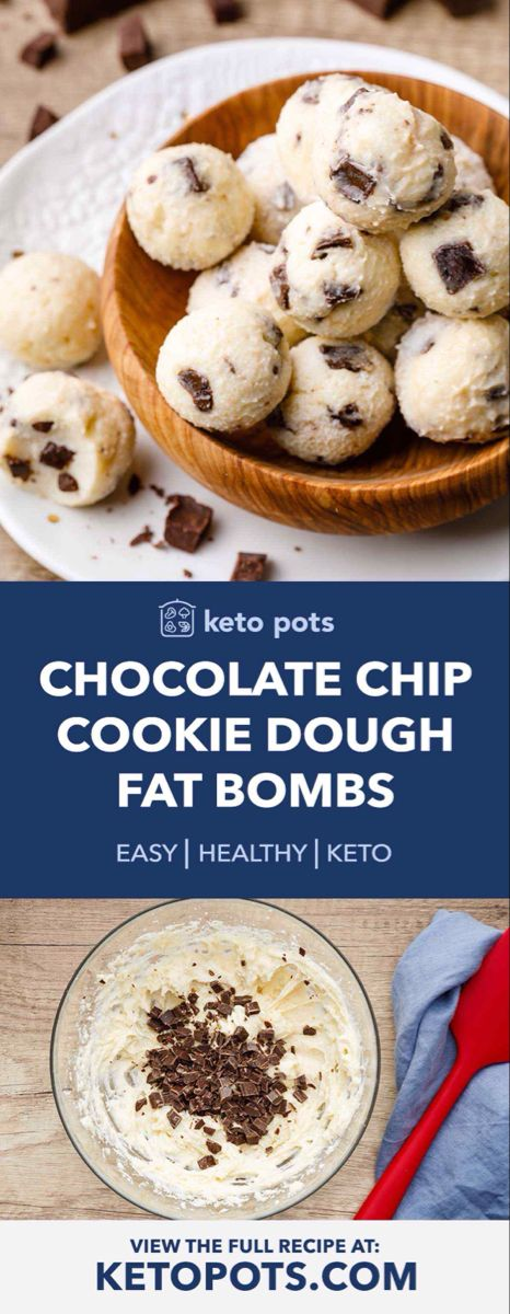 Mind-Blowing Chocolate Chip Cookie Dough Fat Bombs - Keto Pots #chocolatechipcookiedough