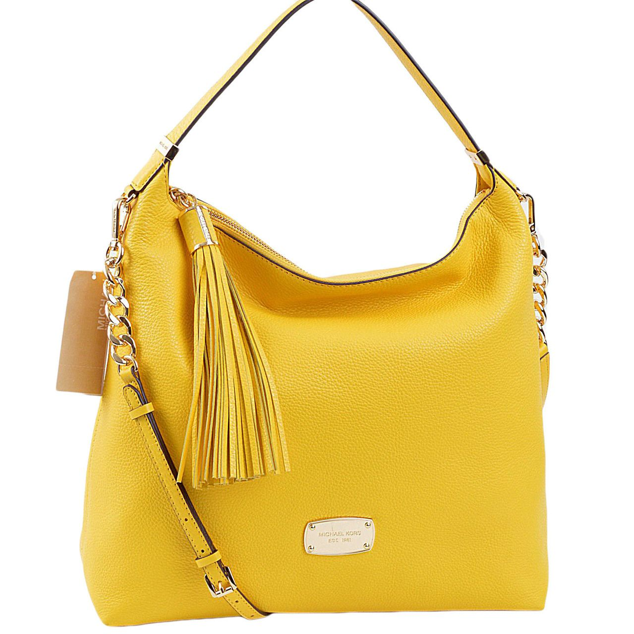 f4b2f3dc89b8 Michael Kors Bedford Large Top Zip Shoulder Bag in Citrus Yellow Pebbled  Leather