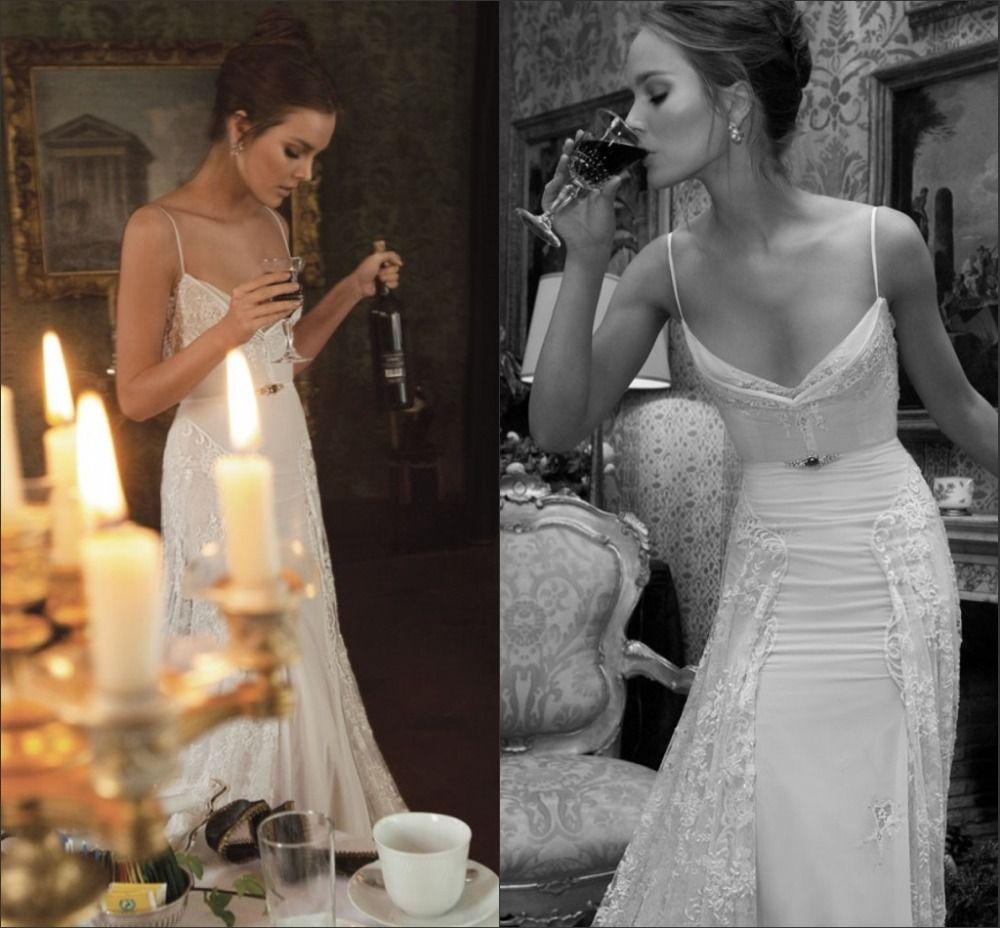 Sexy Inbal Dror Bridal Gown Lace Spaghetti Straps Backless Sheath Wedding Dresses UFIND BRI0052