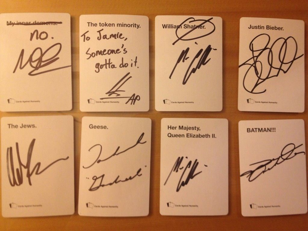 "yousweptmeaway: So I had all my autographs at VanCon be on ""Cards Against Humanity"" cards. I let them all pick (except Jensen) which they wanted to sign. Order is Mark, Osric, Misha, Jared, Adam Rose, Tahmoh, Misha again, and Jensen! <--This person is my hero"