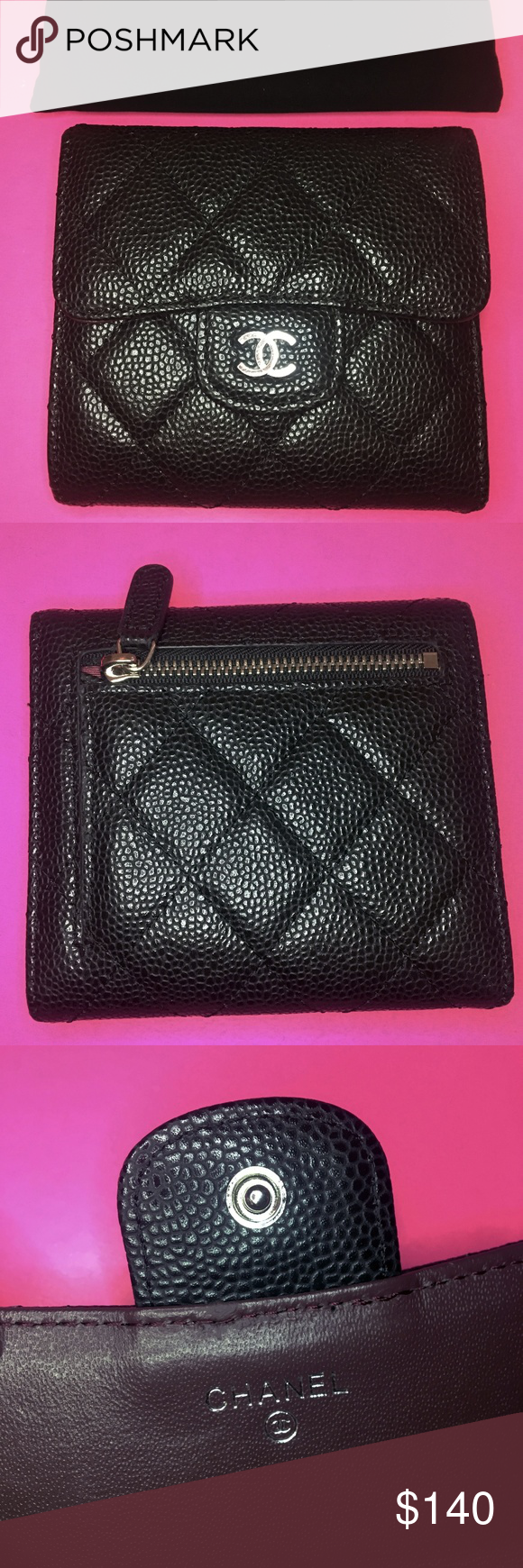 1177eb933667 Chanel Small Flap Wallet - Black Silver Hardware Classic Chanel Small  Trifold Flap Wallet in Caviar