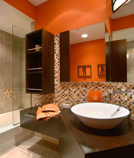 22 modern interior design ideas blending brown and orange colors into beautiful rooms - Bathroom Ideas Orange
