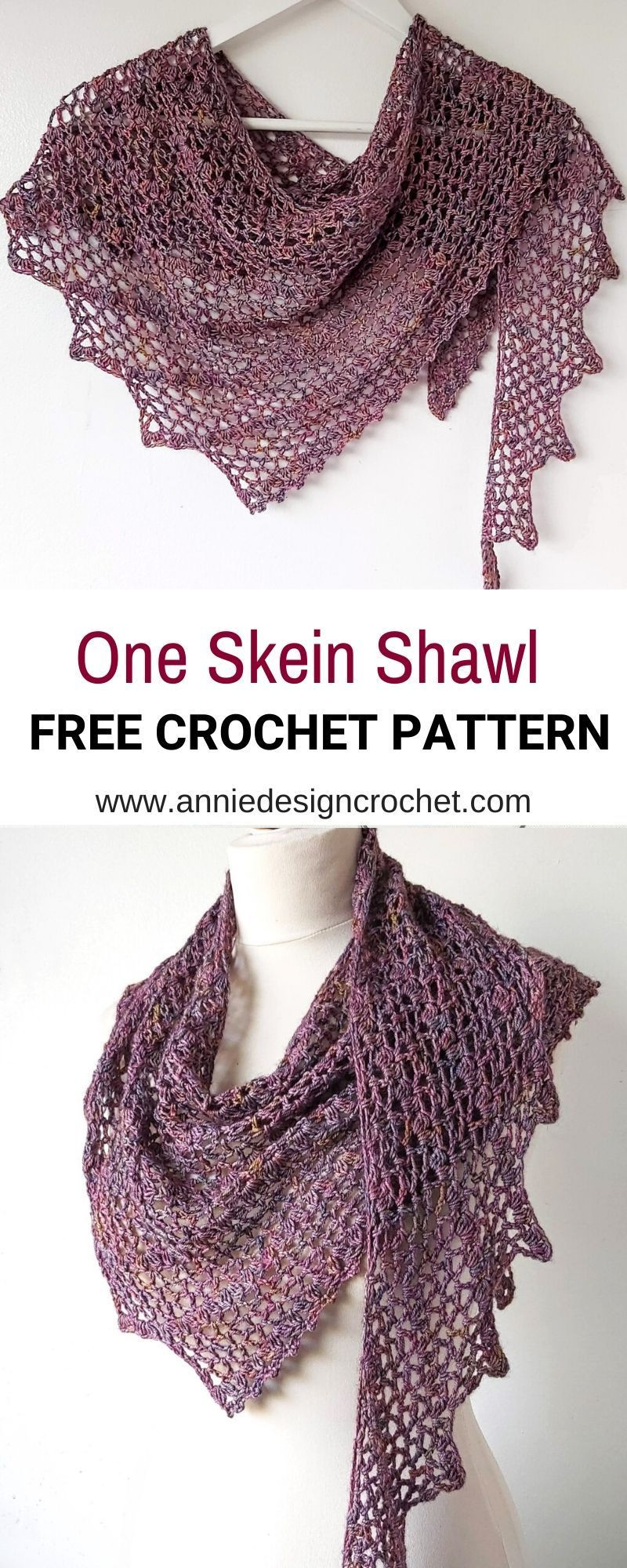 One Skein Crochet Shawl Pattern - Tendril - Annie Design Crochet #shawlcrochetpattern