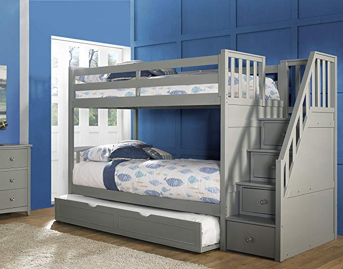 Amazon Com Hillsdale Furniture Ne Kids Barrett Stair Bunk Bed With Trundle Grey Finish Kitchen Dining Bunk Bed With Trundle Bunk Bed Designs Bunk Beds