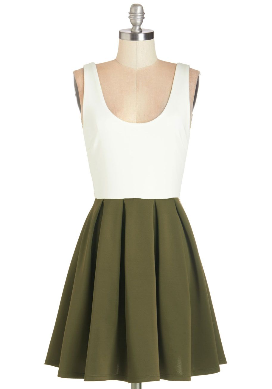 Green and white short dress  Casually Captivating Dress in Olive  Green Solid Aline Twofer