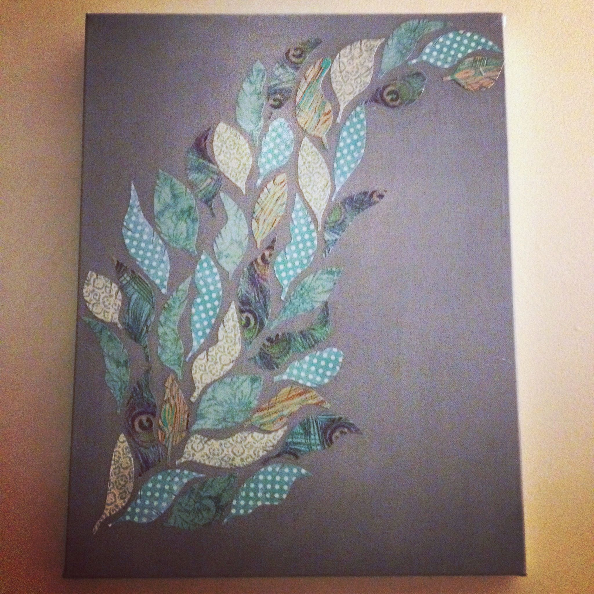 How to scrapbook canvas - Cut Out Feathers From Scrapbook Paper Painted Canvas Mod Podge Feathers Onto Canvas