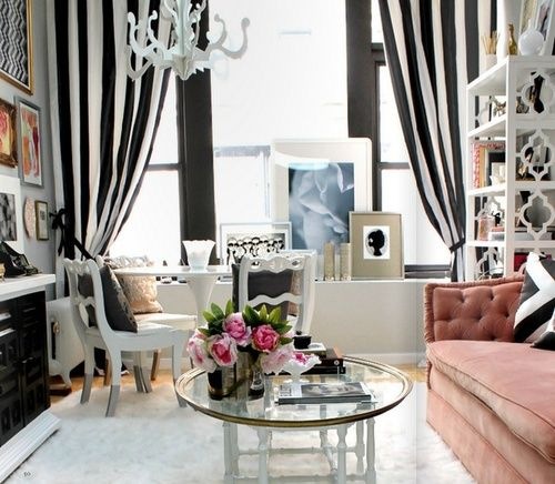 interior design, striped curtains, pink couch, living room