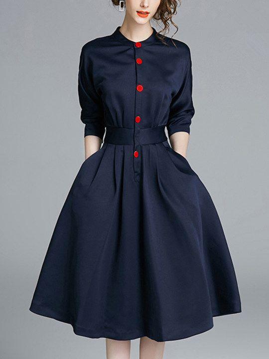 Band Collar Pocket Plain Midi Skater Dress - fashionMe.com