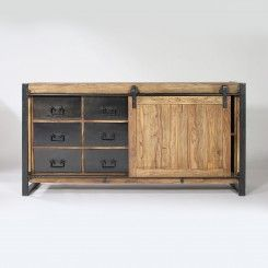 Buffet industriel porte coulissante bois coloré, 6 tiroirs métal ... 81a268c96d3c
