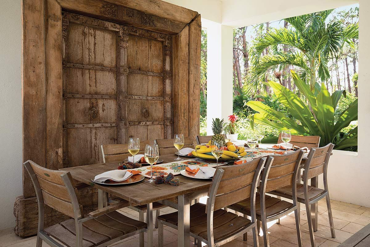 Tropical Modern Retreat Florida Design Teak Table Dining Area