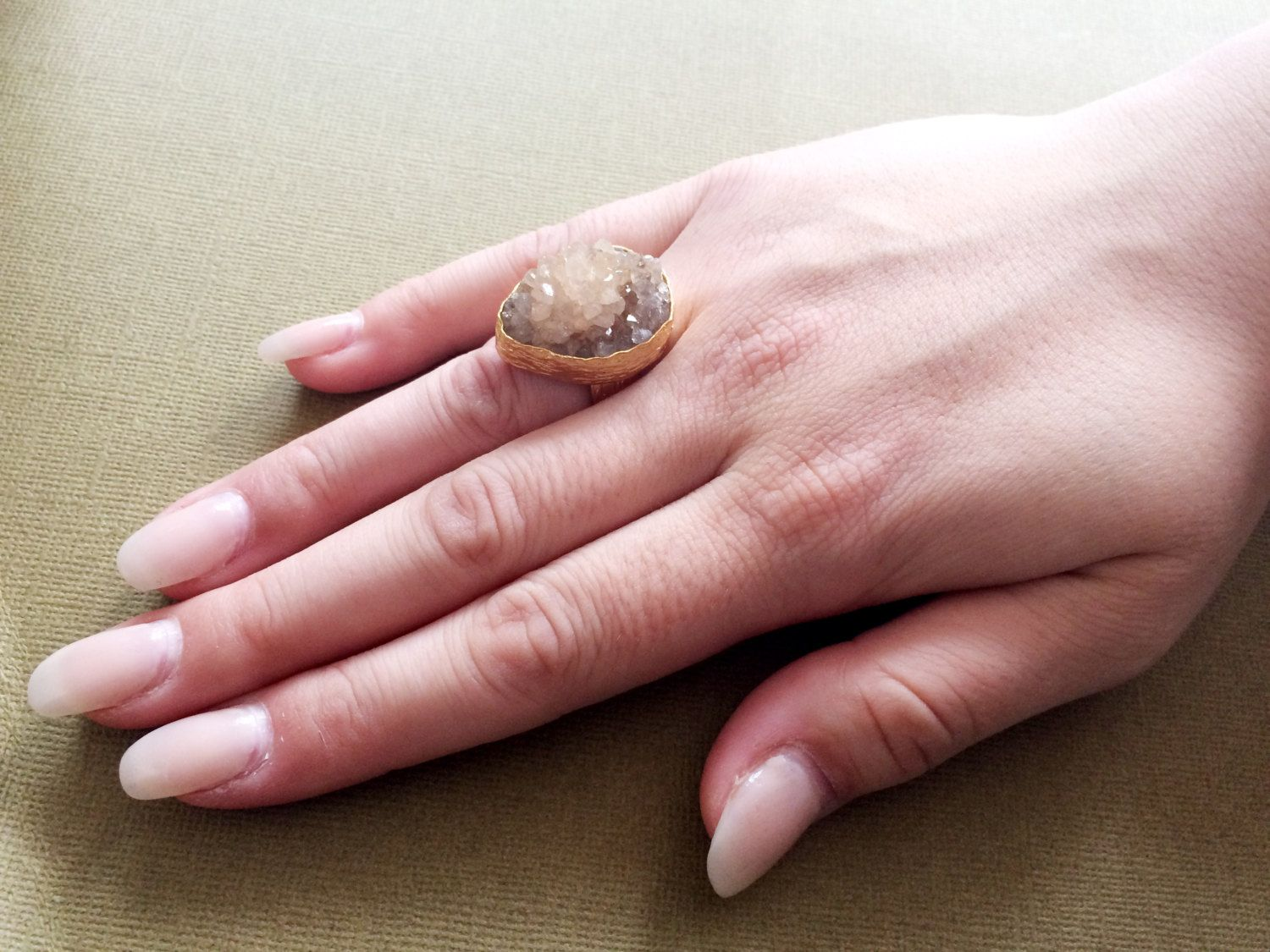 Druzy Ring, Geode Amber ring,Bezel Set,Turkish jewelry,Adjustable ...