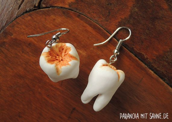 Creepy Human Teeth Earrings With Plaque Http Etsy Me 1mazxez Zahnbelag Zahne Gruselig