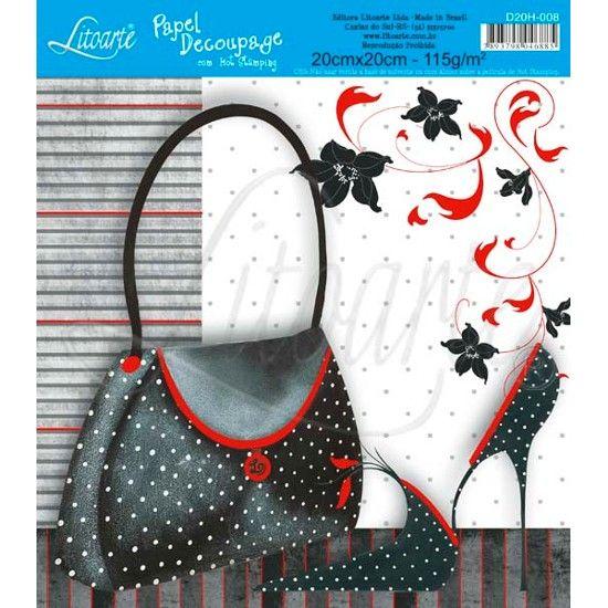 Papel Decoupage Hot Stamping D20H-008 Litoarte - PalacioDaArte