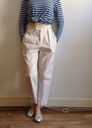 Pantalon Gap Taille Haute, Taille 38-40, Blanc Cassé   Blanc Cassé