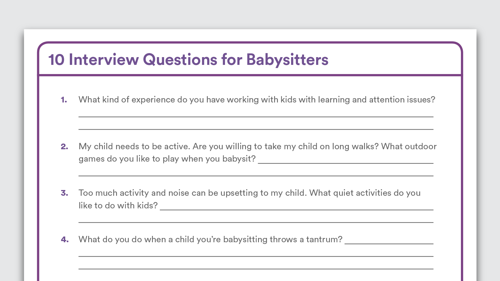10 Interview Questions For Babysitters When Your Child Has