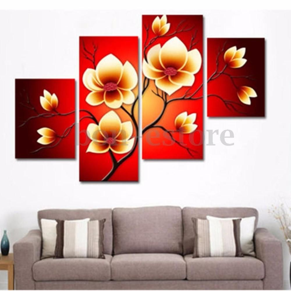4PCS On Canvas Modern Abstract Oil Painting Flowers Huge Wall Decor ...