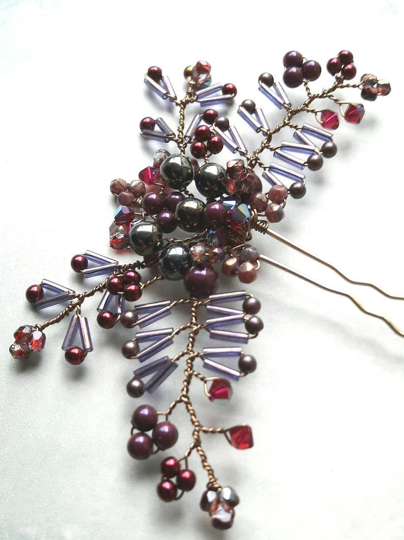 Blackberry purple autumn bridal hair pin fall wedding