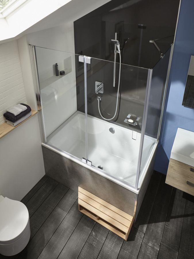La baignoire bain douche en angle et asym�trique